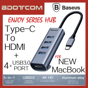 Baseus Enjoy series 4 USB3.0 + Type-C to HDMI 4K HD Intelligent Hub for New Macbook / Macbook Air / Macbook Pro