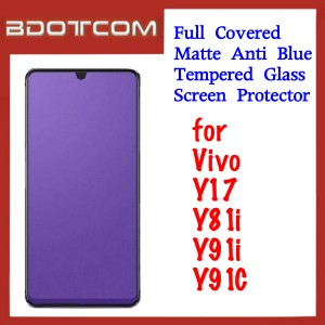 Full Covered Matte Anti Blue Tempered Glass Screen Protector for Vivo Y17 / Y81i / Y91i / Y91C
