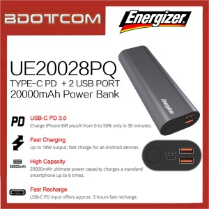 Energizer UE20028PQ 20000mAh Type-C PD3.0 + Dual USB Port Fast Charge Power Bank