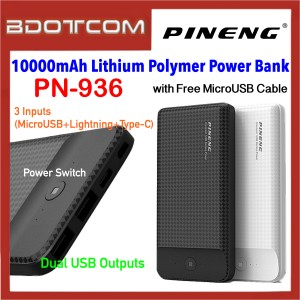Pineng PN-936 10000mAh Dual USB Ports + 3 Input Lithium Polymer Power Bank with MicroUSB Cable