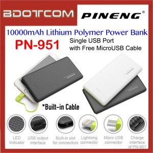 Pineng PN-951 10000mAh Single USB Port Lithium Polymer Power Bank with MicroUSB Cable