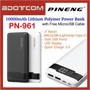 Pineng PN-961 LED Display 10000mAh Quick Charge 3.0 Dual USB Ports + 3 Input  Lithium Polymer Power Bank