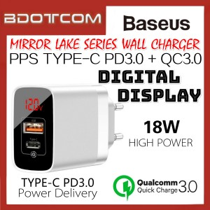 Baseus Mirror Lake PPS 18W Type-C PD3.0 + QC3.0 Quick Charge Wall Plug Charger with Digital Display