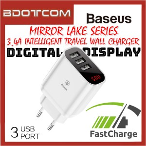 Baseus Mirror Lake 3 USB Port 3.4A Quick Charge Intelligent Travel Wall Charger with Digital Display