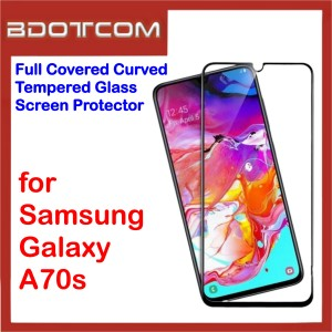 Full Covered Curved Tempered Glass Screen Protector for Samsung Galaxy A70s (Black)