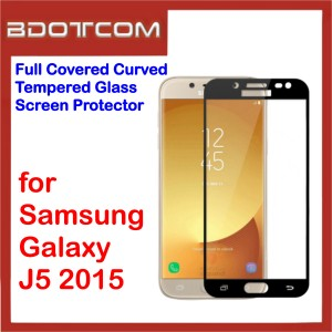 Full Covered Curved Tempered Glass Screen Protector for Samsung Galaxy J5 2015 (Black)
