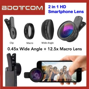 Phone Lenses 0.45x Wide Angle 12.5x Macro Lens 2 in 1 HD Smartphone Lens for iPhone Samsung Xiaomi Huawei
