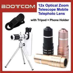 12x Optical Zoom Telescope Mobile Telephoto Lens with Tripod + Phone Holder for iPhone Samsung Huawei Oppo Vivo Xiaomi Devices