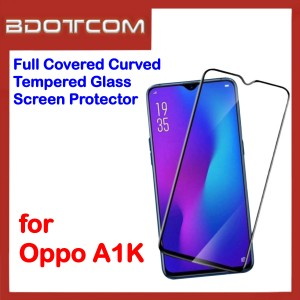 Full Covered Curved Tempered Glass Screen Protector for Oppo A1K (Black)