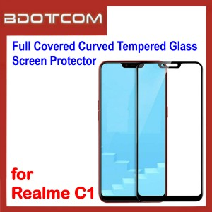 Full Covered Curved Tempered Glass Screen Protector for Realme C1 (Black)