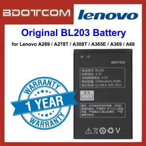 Original Lithium Polymer Rechargeable Battery BL203 for Lenovo A269 / A278T / A308T / A365E / A369 / A66