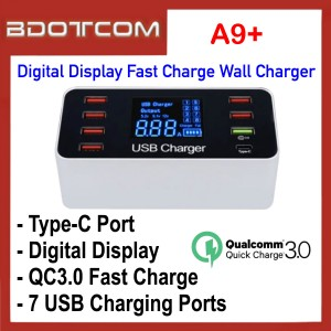 A9+ Digital Display 7 USB Ports QC3.0 + USB Type-C Port Fast Charge Travel Wall Charger for Samsung / Apple / Huawei / Vivo / Oppo / Xiaomi