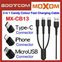 Moxom MX-CB13 2.4A Candy Colour 3 in 1 Lightning + MicroUSB + Type-C Fast Charge Cable for Samsung / Huawei / Apple / Vivo / Oppo / Xiaomi