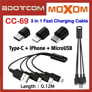 Moxom CC-69 0.12M Key Chain 3 In 1 iPhone + MicroUSB + Type-C  2.4A Fast Charge Cable for Samsung / iPhone / Huawei / Vivo / Xiaomi / Oppo