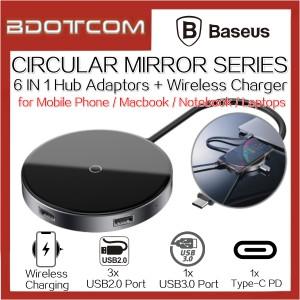 Baseus Circular Mirror 6 In 1 Type-C to USB3.0 Port + 3X USB2.0 Port + Type-C PD Port Hub Adaptor + 10W Wireless Charger Charging Dock
