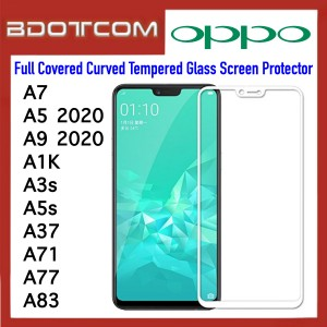 Full Covered Curved Tempered Glass Screen Protector for Oppo A7 / A5 2020 / A9 2020 / A1K / A3s / A5s / A37 / A71 / A77 / A83 (White)