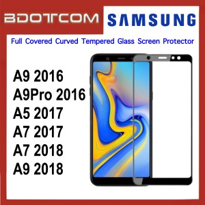 Full Covered Curved Tempered Glass Screen Protector for Samsung Galaxy A9 2016 / A9 Pro 2016 / A5 2017 / A7 2017 / A7 2018 / A9 2018 (Black)
