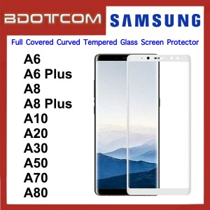Full Covered Curved Tempered Glass Screen Protector for Samsung Galaxy A6 / A6 Plus / A8 / A8 Plus / A10 / A20 / A30 / A50 / A70 / A80 (White)