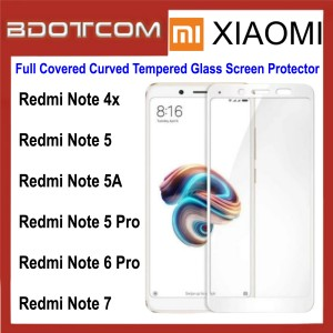 Full Covered Curved Tempered Glass Screen Protector for Xiaomi Redmi Note 4X / Note 5 / Note 5A / Note 5 Pro / Note 6 Pro / Note 7 (White)