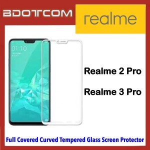 Full Covered Curved Tempered Glass Screen Protector for Realme 2 Pro / Realme 3 Pro (White)