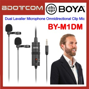 Boya BY-M1DM 3.5mm Aux Dual Lavalier Microphone Omnidirectional Clip Mic for Samsung / Apple / Xiaomi / Huawei / Oppo / Vivo / Audio and Video Recording