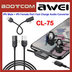 Awei CL-75 3 in 1 Lightning Male Interface + Lightning Female Port Fast Charge Audio Converter for Apple iPhone 7 / iPhone 8 / iPhone X / iPhone SE 2 / iPhone XR / iPhone Xs Max / iPhone 11 / iPhone 11 Pro