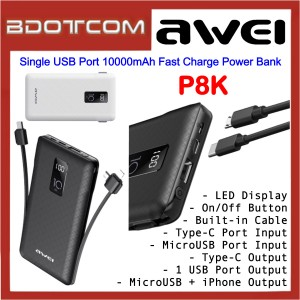 Awei P8K LED Display Single USB Port 10000mAh Fast Charge Power Bank with Built-in Cable for Samsung / Apple / Xiaomi / Huawei / Oppo / Vivo