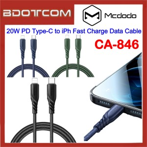 Mcdodo CA-846 20W PD Type-C to Lightning Fast Charge Data Cable for Apple iPhone 11 Pro Max / Xs / XR, iPhone 8 / 8 Plus, iPhone 7 / 7 Plus, iPad Pro 12.9, iPad Air 3 10.5, iPod Touch 6th Generation