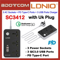LDNIO SC3412 Power Strip with 3 AC Sockets + PD Type-C Ports + 3 QC3.0 USB Ports Charger For Samsung / Apple / Huawei / Xiaomi / Oppo / Vivo / Realme LDNIO SC3604 / LDNIO SK3662