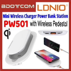 LDNIO PW501 2.1A Single USB Port 5000mAh QI Fast Charge Wireless Charger Power Bank Station with Wireless Pedestal for Samsung / Apple / Huawei / Xiaomi / Oppo / Vivo / OnePlus / Realme