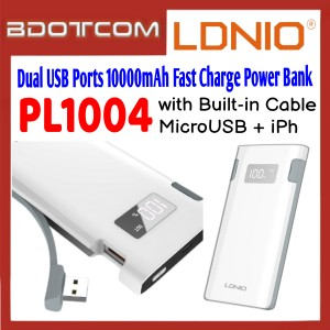 LDNIO PL1004 2.1A Dual USB Ports 10000mAh Fast Charge Power Bank with Built-in MicroUSB + Lightning Cable for Samsung / Apple / Xiaomi / Huawei / Oppo / Vivo / Realme / OnePlus
