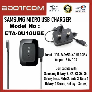 High Quality Samsung Micro USB Power Adapter Charger for Samsung Galaxy S, S2, S3, S4, S5, Galaxy Note 1, Note 2, Note 3, Note 4, Galaxy J Series, Galaxy A Series