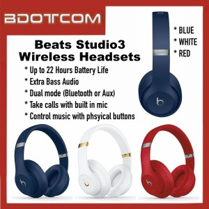 [READY STOCK] High Quality Beats Studio3 Wireless Bluetooth Headsets Headphones with 3.5mm Auxiliary Port and Built in Mic compatible with all Mobile Devices, MP3 Players, Game Consoles and others