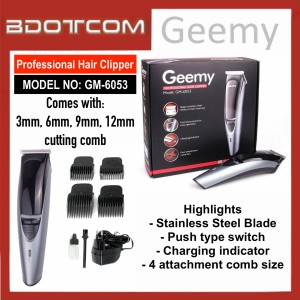 [READY STOCK] GEEMY GM-6053 Professional Rechargeable Cordless Hair Trimmer, Hair Clipper, Hair Shaver, Hair Groomer, Hair Cutter for Men, Women, Boy, Lady, Kid, Child, Senior Citizen and anyone else