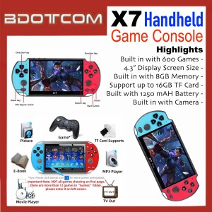 [READY STOCK] X7 Handheld Game Console 4.3-INCH FULL HD Display Pocket Size MP5 Video Player with Built in Camera, 600 Games, 8GB Internal Memory, Micro SD Slot, Auxiliary Port