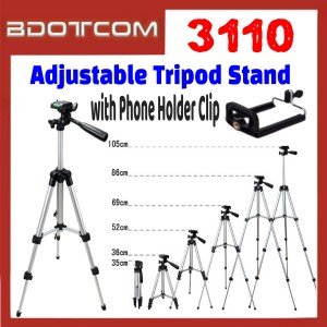 [ Ready Stock ] 3110 Adjustable Tripod Stand with Phone Holder Clip for Smartphone / Camera / Samsung / Apple / Xiaomi / Huawei / Oppo / Vivo / Realme / OnePlus