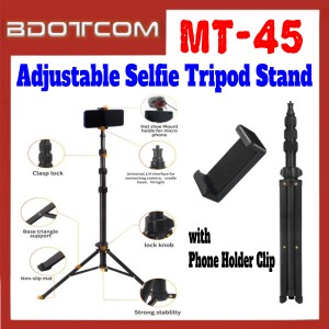 [ Ready Stock ] JMary MT-45 Adjustable Selfie Tripod Stand with Phone Holder Clip for Smartphone / Camera / GoPro / Samsung / Apple / Xiaomi / Huawei / Oppo / Vivo / Realme / OnePlus