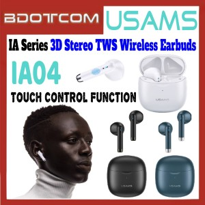 USAMS IA04 IA Series 3D Stereo Sound TWS Bluetooth V5.0 Wireless Earbuds with Charging Case for Samsung / Xiaomi / Huawei / Oppo / Vivo / Realme / OnePlus