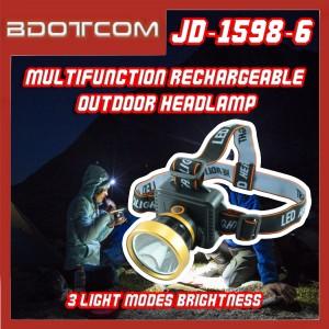 [Ready Stock] JD-1598-6 Multifunctional Headlight Rechargeable 3 Light Modes Brightness Outdoor Torch Light Head Lamp