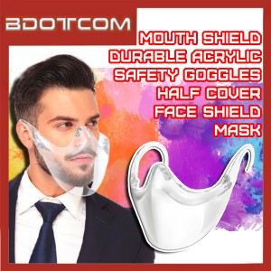 [Ready Stock] Transparent Durable Acrylic Safety Half Face / Mouth Cover Safety Goggles Anti Spray Mask Face Shield Cover