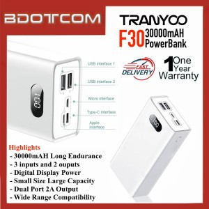 [READY STOCK] Tranyoo F30 30000mAh Portable Power Bank Large Capacity Long Endurance Power Supply support PD (Power Delivery) compatible with Apple, Samsung, Huawei, Honor, OPPO, VIVO, XiaoMi, Realme, Sony, OnePlus Lenovo, Nokia and etc