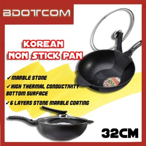 [Ready Stock] Korean Marble Stone 32cm Non Stick Pan Cooking Wok