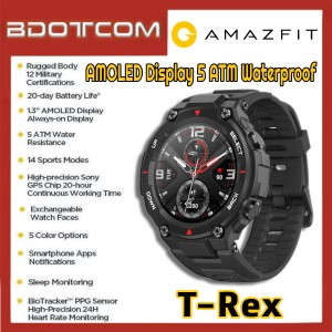 [Ready Stock] Amazfit T-Rex 1.3 inch AMOLED Display 5 ATM Waterproof GPS Outdoor Smart Watch
