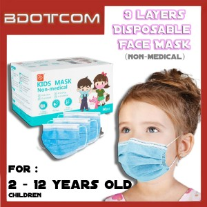 [Ready Stock] 2 - 12 Years Old Children / Kids Non Medical 3 Layers Disposable Face Mask (50psc / Box)