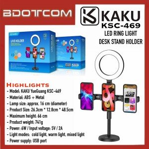 [READY STOCK] KAKU KSC-469 YueGuang Series LED Ring Light Desk Stand with built in 3 Phone Holder suitable for Vlogger, Youtuber, TikTok, Smule, Influencer, Online Study, Home Schooling, Video Recording, Live Streaming, ZOOM Meeting, Google Meet and etc