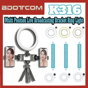 [Ready Stock] K316 Multi Position Fill Light Live Broadcasting Bracket Ring Light with Phone Holder suitable for Vlogger, Youtuber, TikTok, Smule, Influencer, Online Study, Home Schooling, Video Recording, Live Streaming, ZOOM Meeting, Google Meet and etc