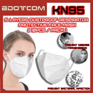 [Ready Stock] KN95 Dustproof Respirator 5 Layers Disposable Surgical 5PLY Protective Face Mask (10psc / Pack)