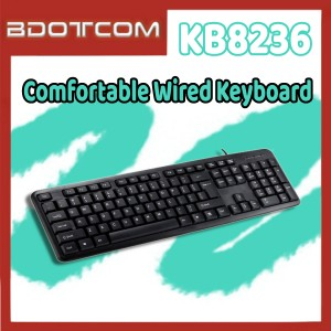 [Ready Stock] KB8236 104 Key Portable Comfortable Wired Keyboard for Computer / PC / Laptop / Desktop PC / Office / Gaming