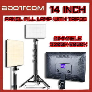 [Ready Stock] 14 Inch LED Video Light Dimmable 3200k-6000k Panel Fill Lamp with Tripod & Remote Control