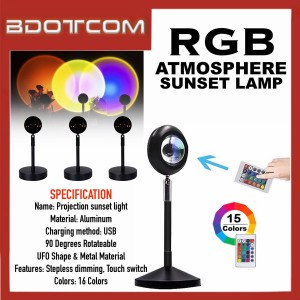 [READY STOCK] High Quality RGB Rainbow Atmosphere Sunset Lamp Projector Selfie Light with Remote Control suitable for Vlogger, Youtuber, TikTok, Smule, Influencer, Video Recording, Live Streaming, and etc